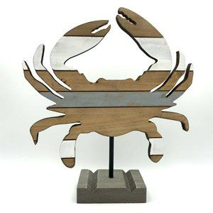 Wooden Crab Decor on Stand Striped Distressed Wood